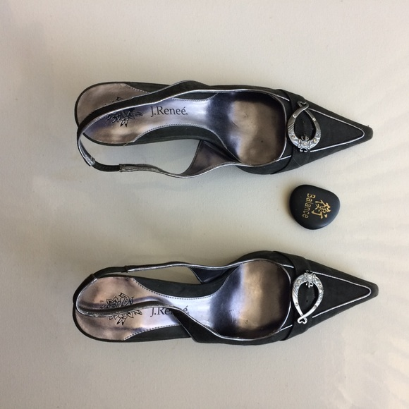 J Renee Shoes - J Renee Heels Green With Silver Accents Size 10